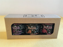 Medové trio - dárkové balení (medík s malinami, černým rybízem, rakytníkem)